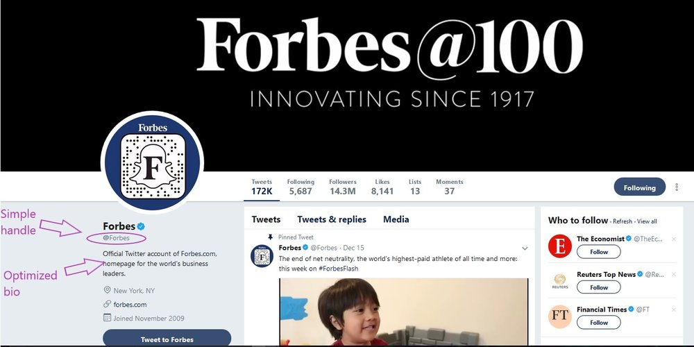 Forbes Twitter account page