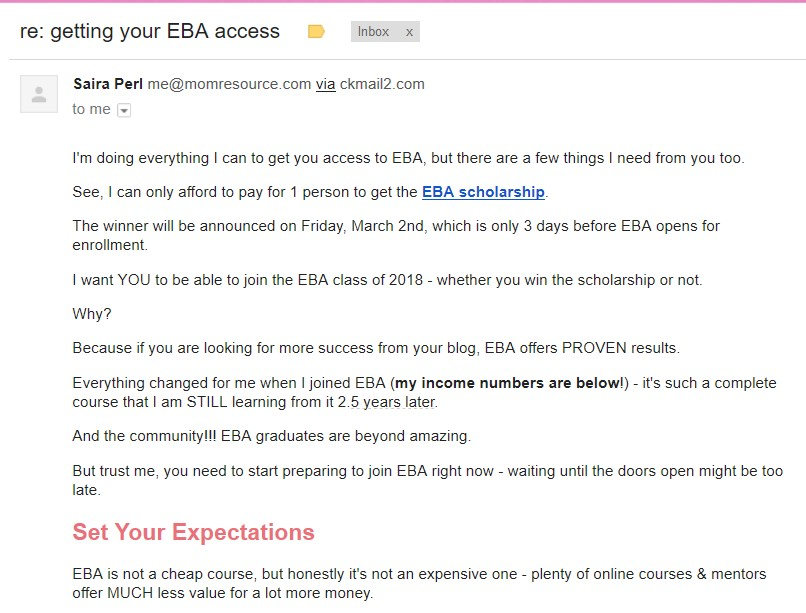 Affiliate promotion via email example