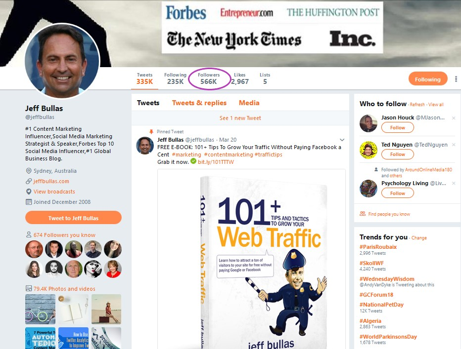 Influencer Marketing Example:  Jeff Bullas on Twitter