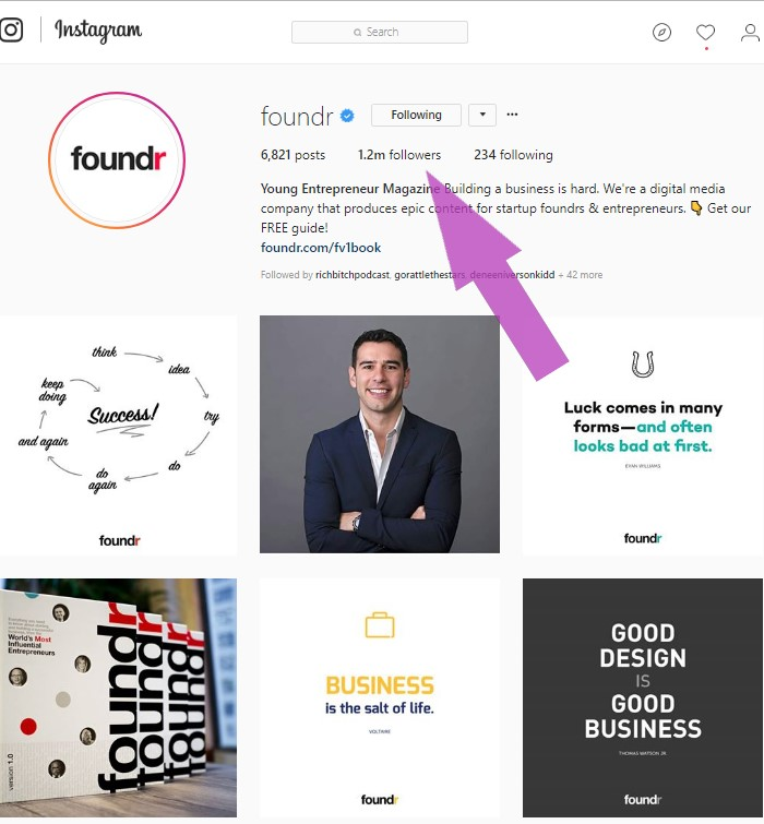 Influencer Marketing Example:  Foundr on Instagram