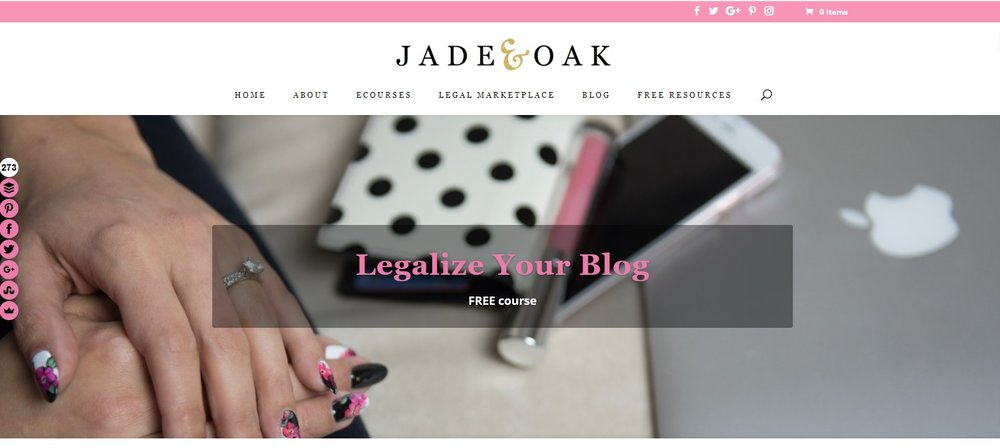 Jade & Oak legal course for bloggers