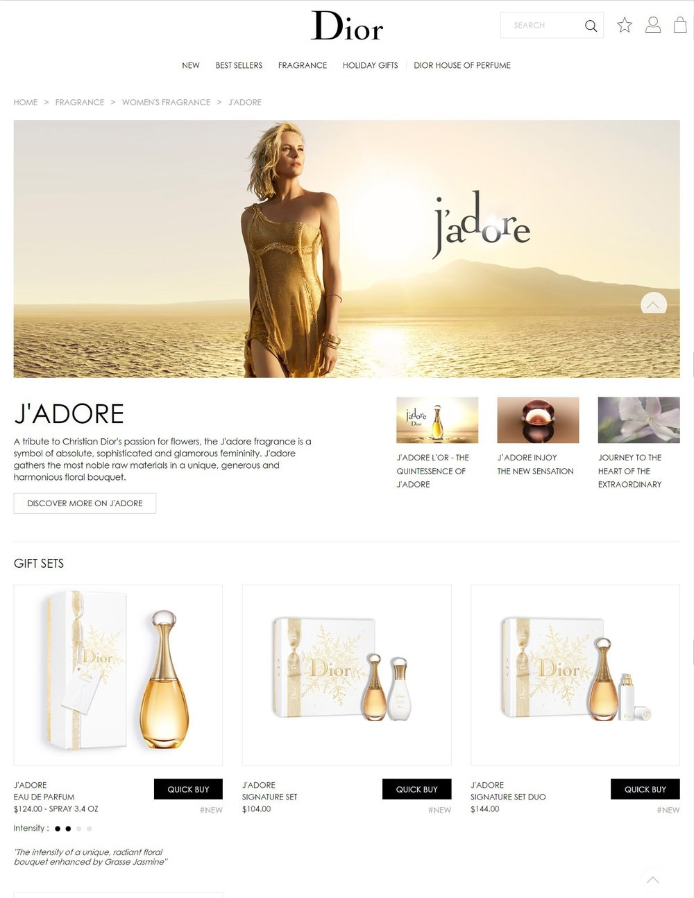 Famous brand Landing Page design. Source: Dior
