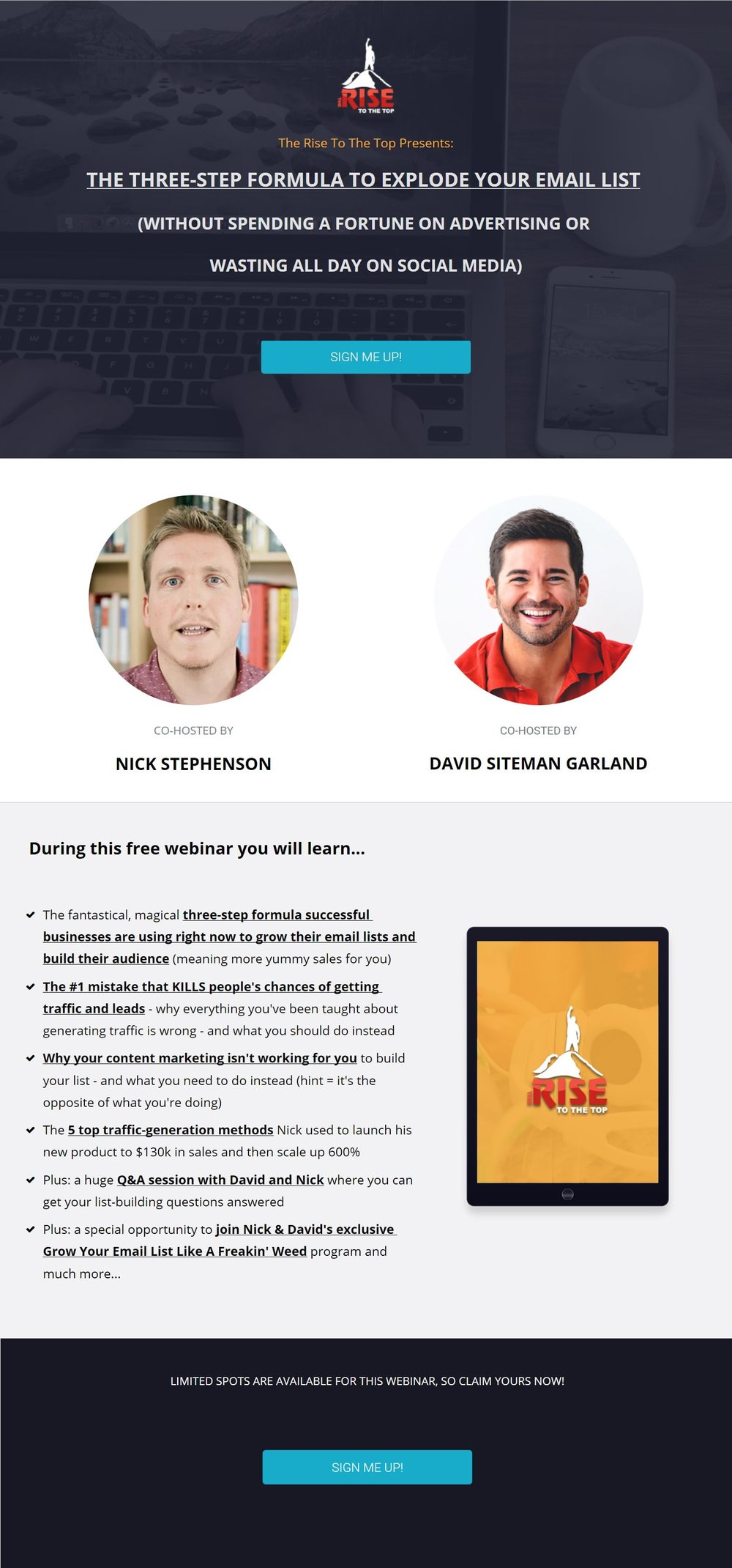 Long form Landing Page sample. Source:  Growyouremailliststrategy