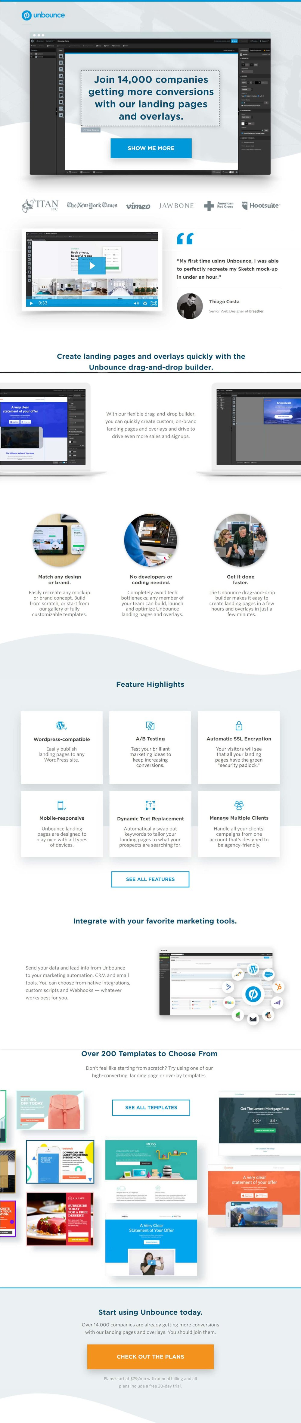 Long form complex Landing Page Example. Source:  Unbounce