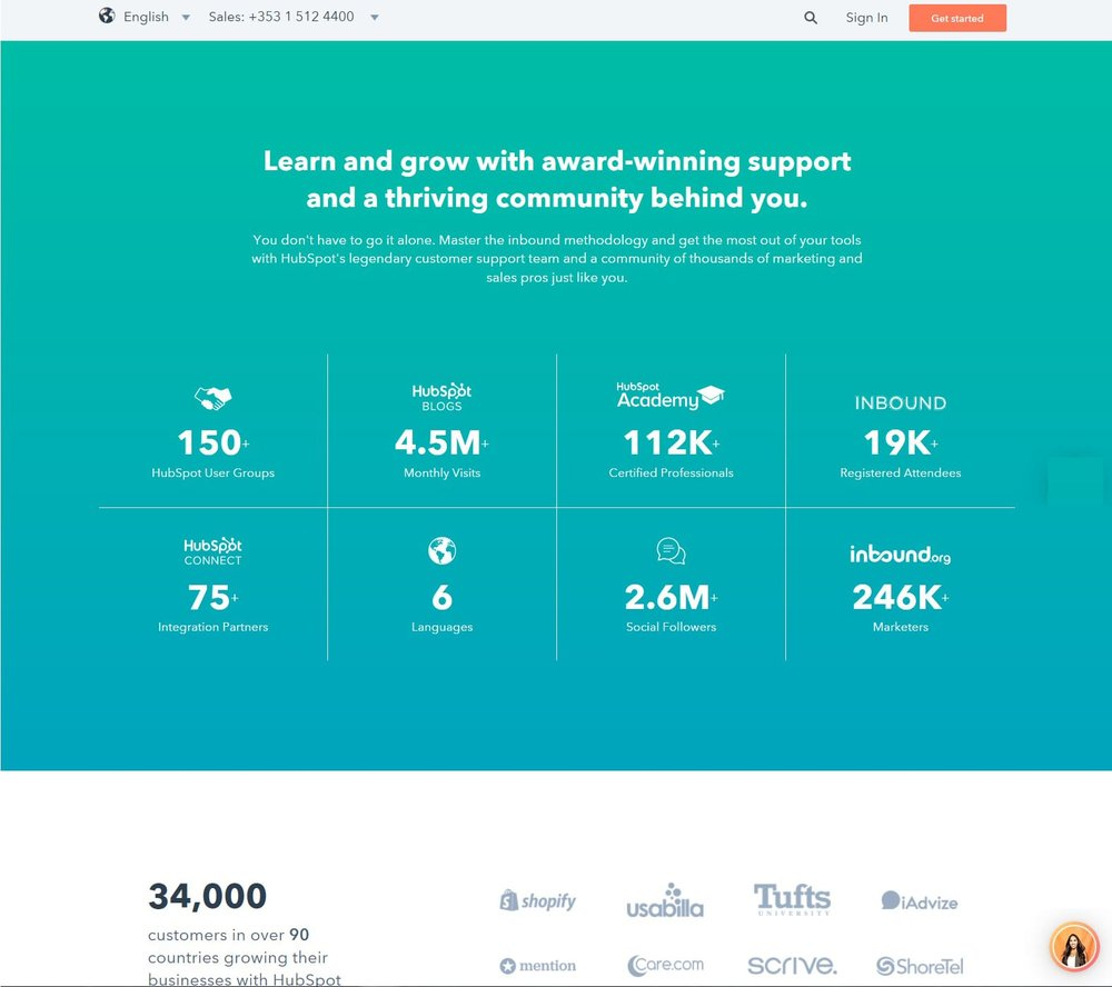 Solid Social Proof inserted in Landing Page. Source:  HubSpot