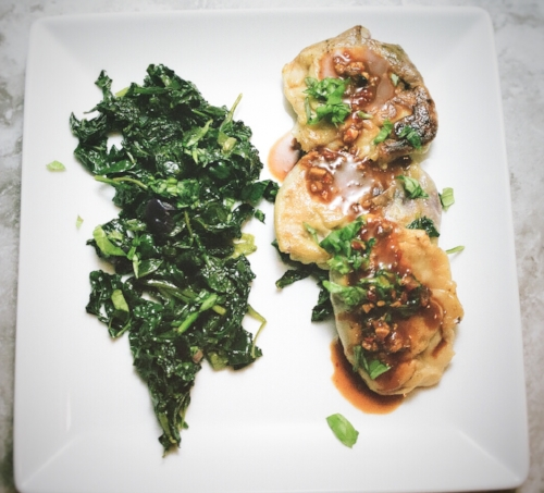 Pictured with sauteed greens.
