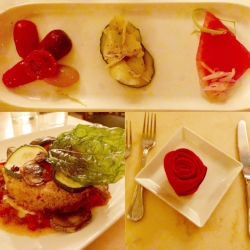 Be Our Guest salad tasting trio, layered ratatouille and a pretty napkin rose