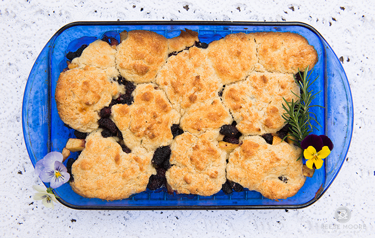 Ultimate Mulberry Peach Cobbler with Rosemary Topping