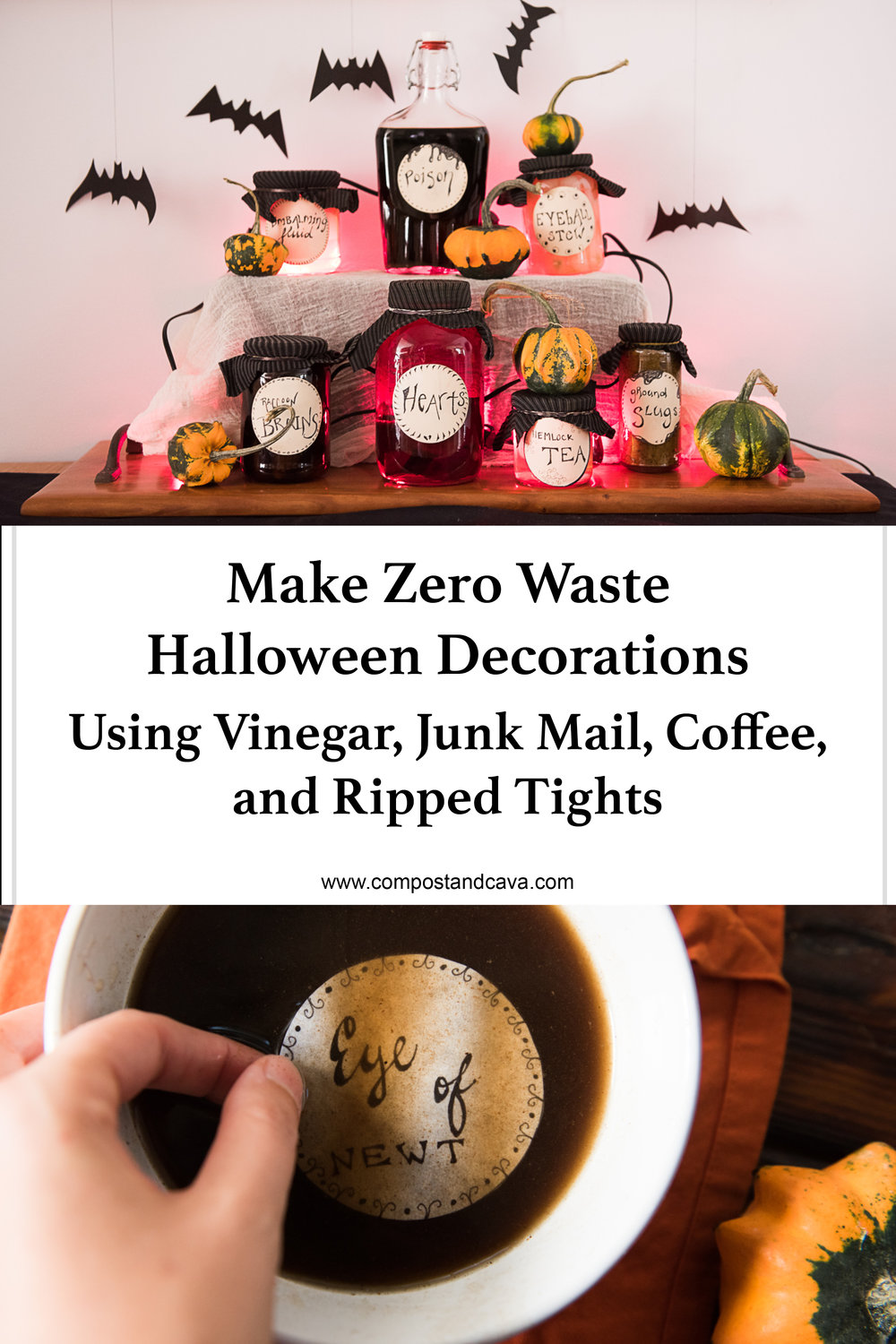 zero waste halloween decorations using vinegar, junk mail, coffee, and ripped tights