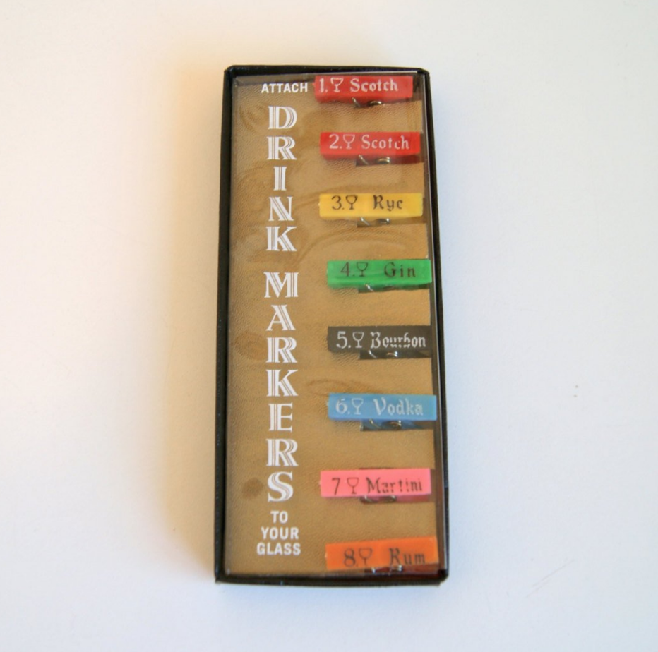 Vintage Clothespin Drink Markers