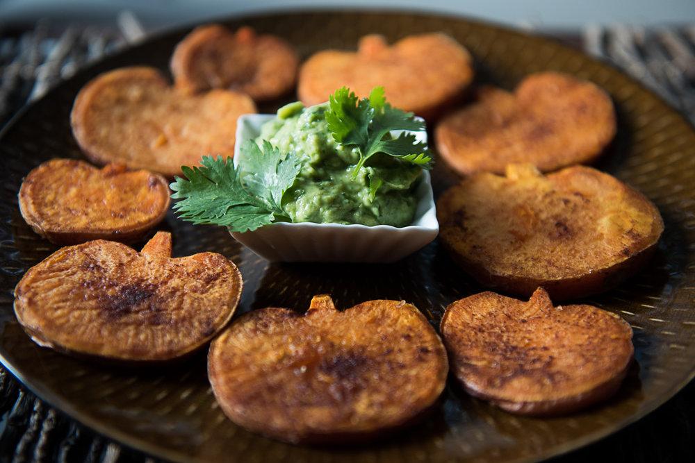 Smoky Halloween Food: Sweet Potato Pumpkins with Avocado Aioli