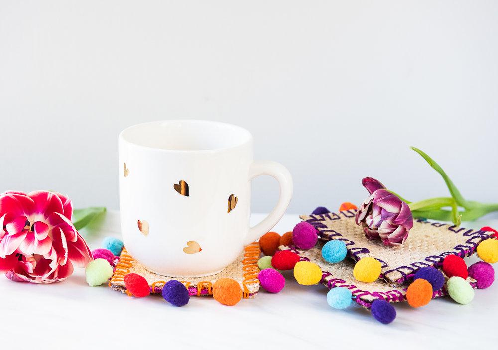 DIY Burlap Pom Pom Coasters Made from Upcycled Coffee Sack