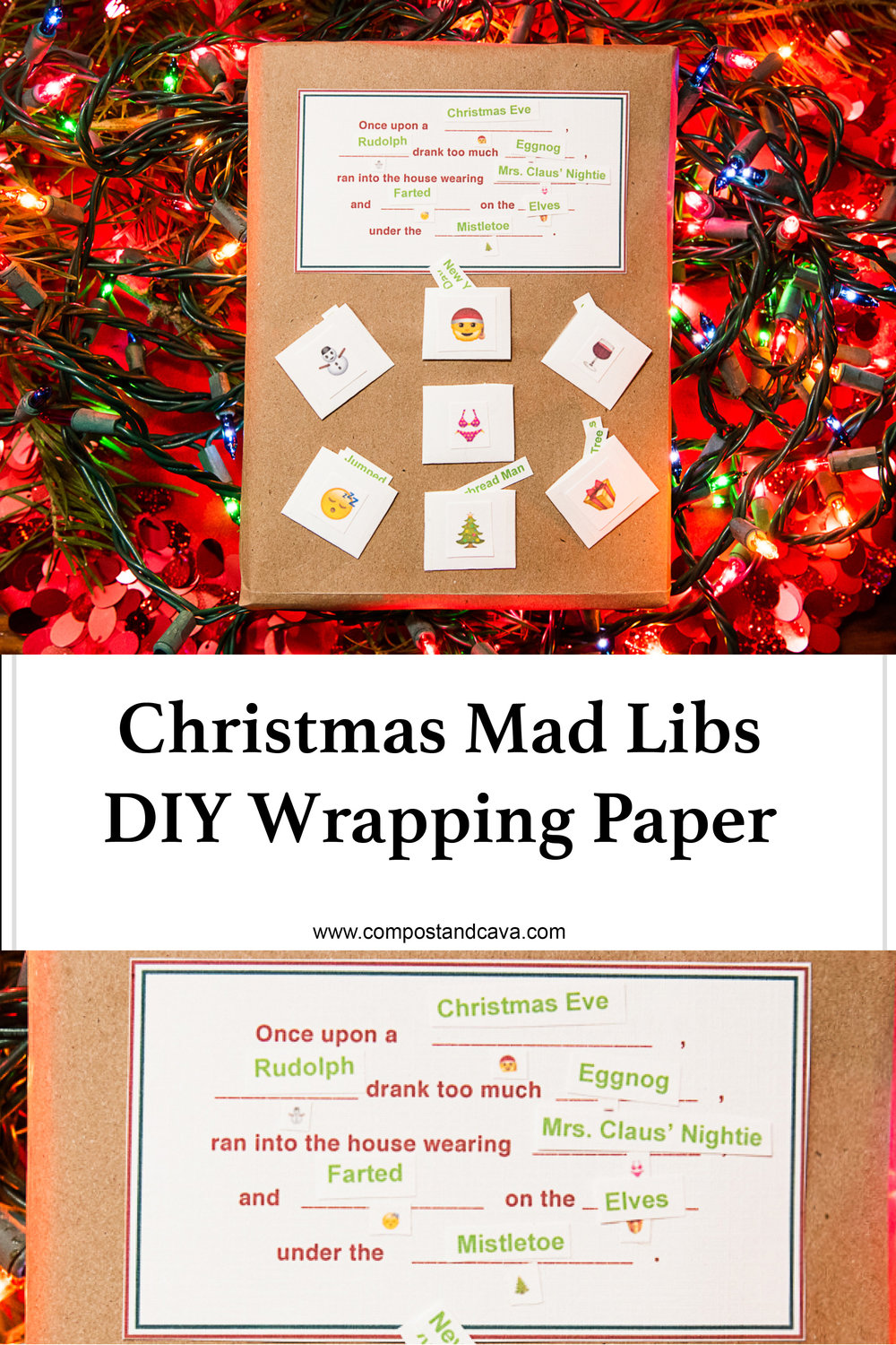 DIY Christmas Mad Libs Wrapping Paper