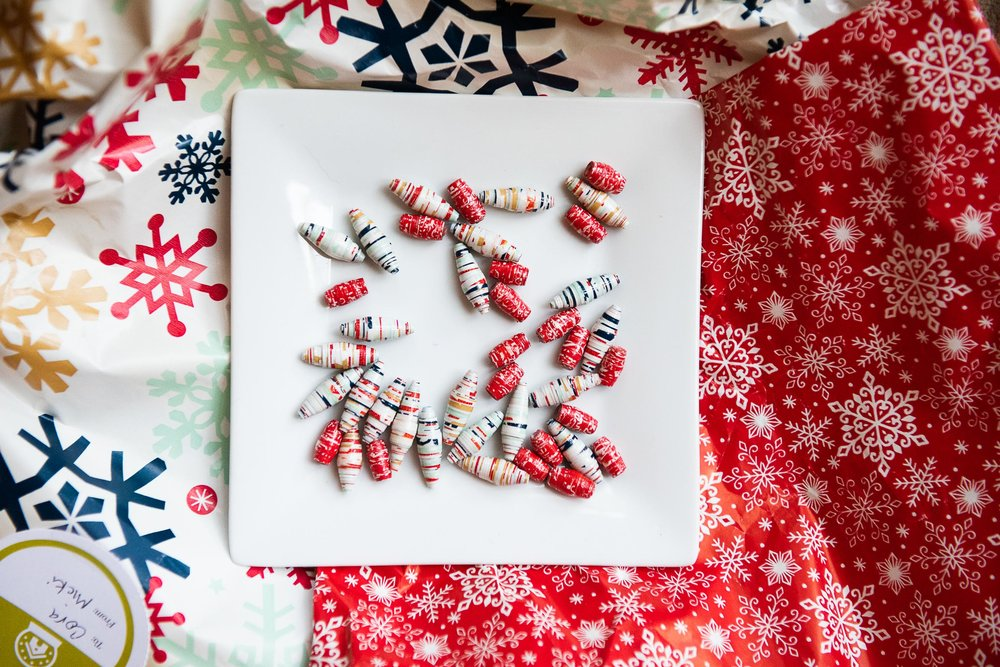 How to Upcycle Wrapping Paper into Boho Paper Bead Necklaces