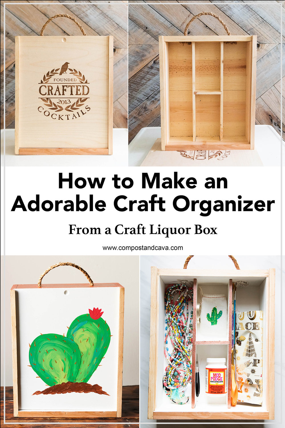 How to Upcycle a Craft Liquor Box into an Adorable Craft Organizer