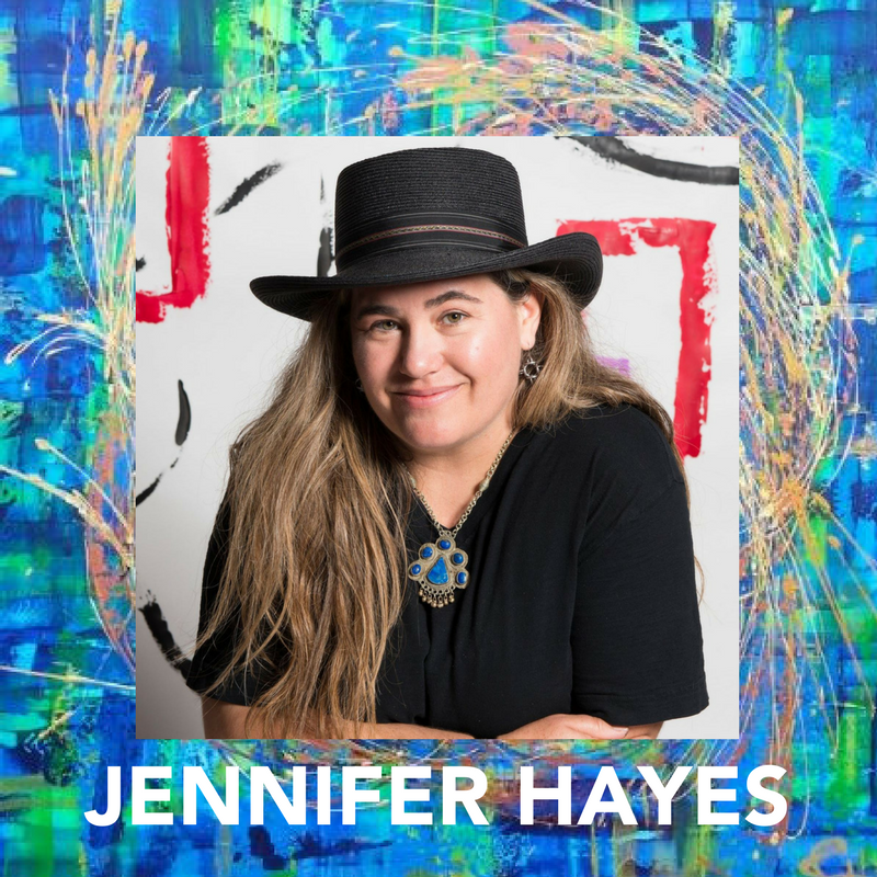 Jennifer Hayes creates passionate paintings full of bright, bold colors, thick textured layers and sensual feminine curves