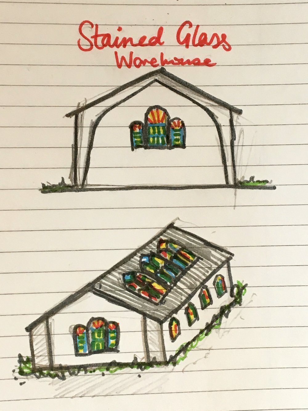 Stained Glass Warehouse Concept Sketch