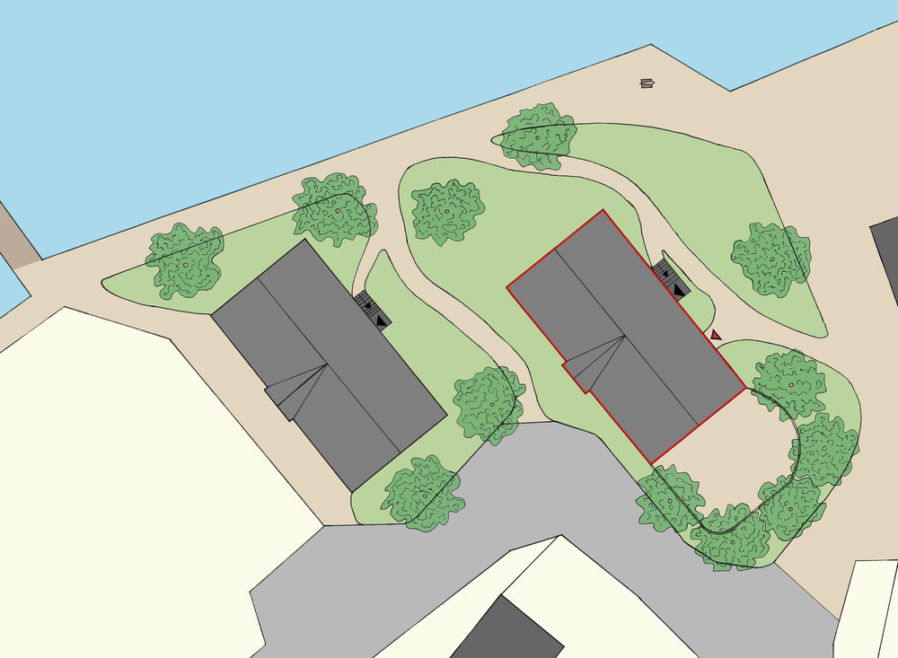 Site Plan. The red outline is the building that I focussed on.