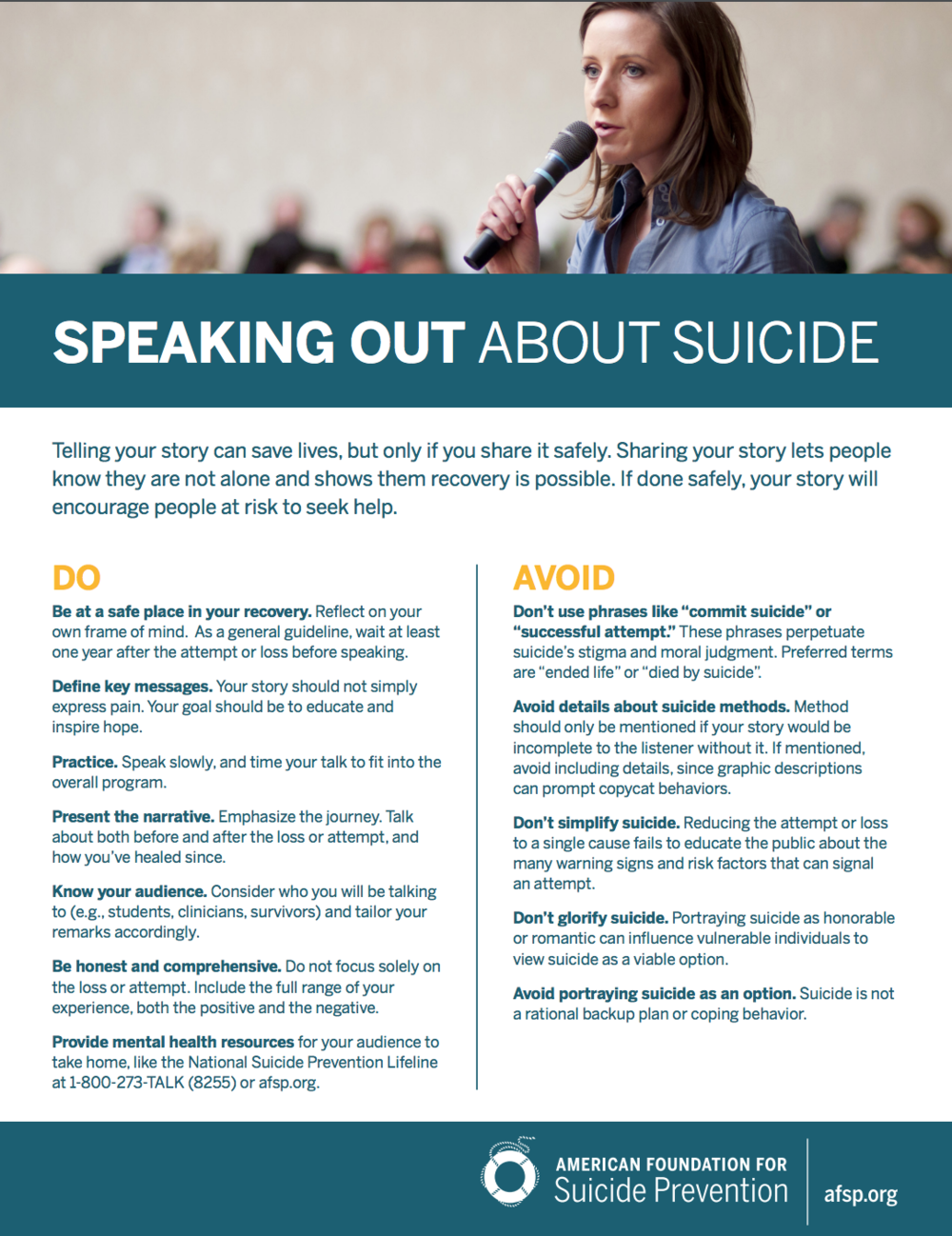 Speaking Out About Suicide - American Foundation for Suicide Prevention