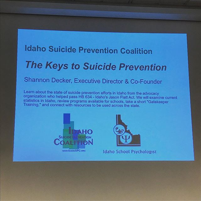 "Honored to be able to share the ""Keys to Suicide Prevention"" with Idaho's School Psychologists during their October Days Conference.  #idaHOPE #zerosuicIDe"