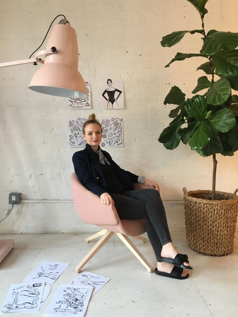 Katherine in her studio in NYC