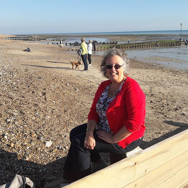 Sitting on Ferring beach with my friend Karen .... can't believe it's October!