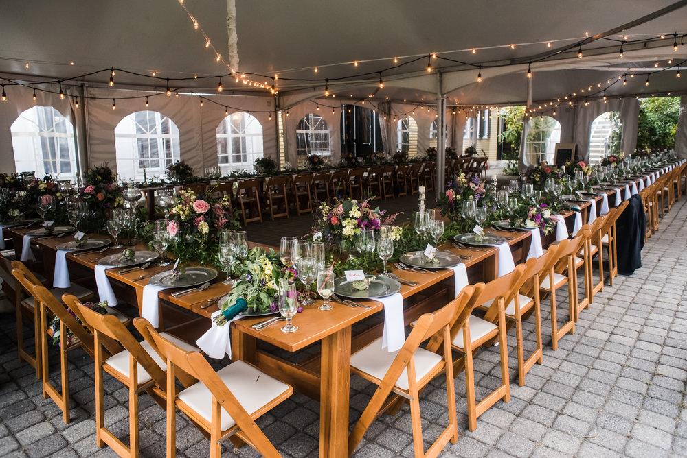 Lilac Inn wedding with farm tables.