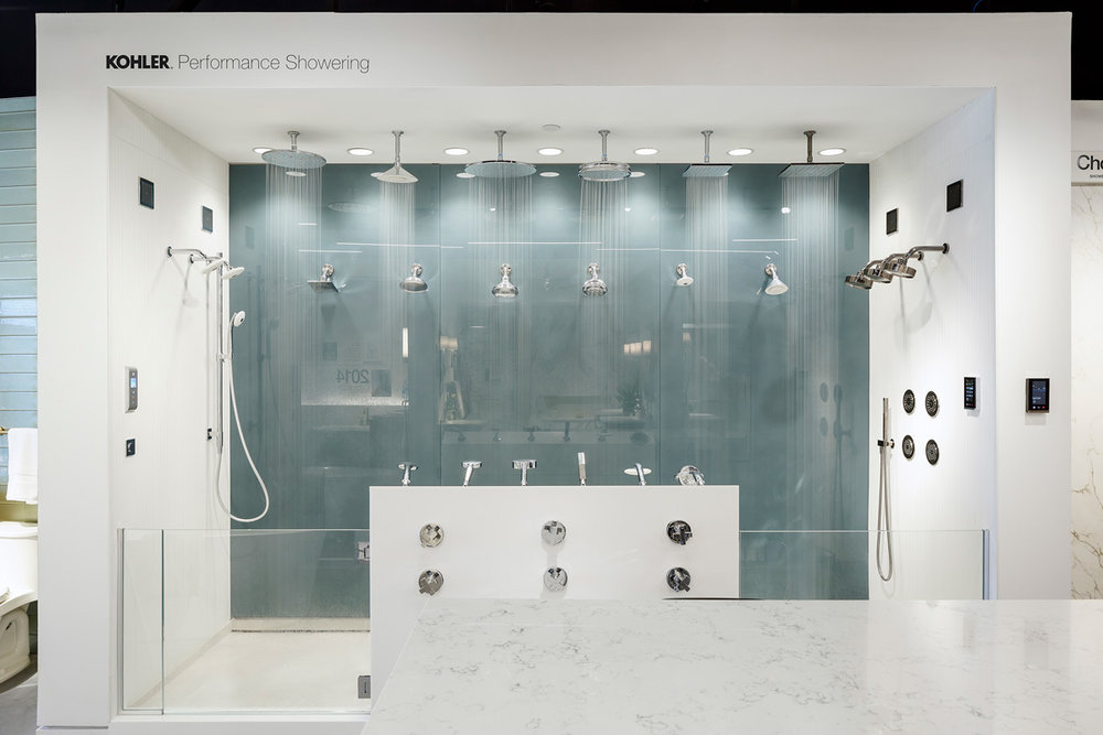 Feel and touch the difference of KOHLER shower sprays and digital showering products firsthand in the shower performance area
