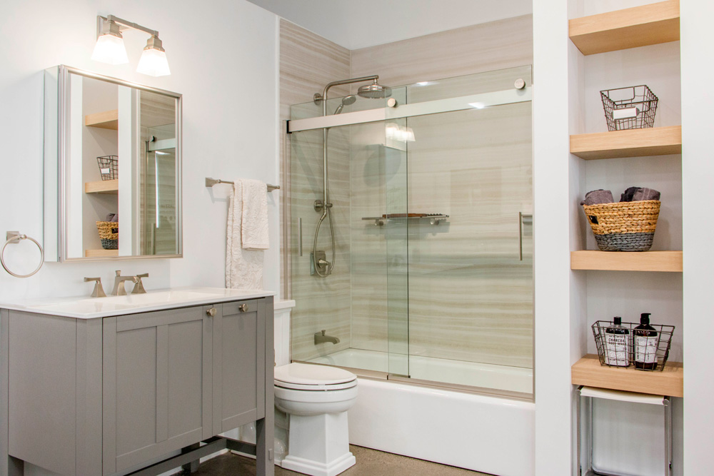 Shop full bathroom solutions from vanities and mirrors to wall materials, shower doors and more