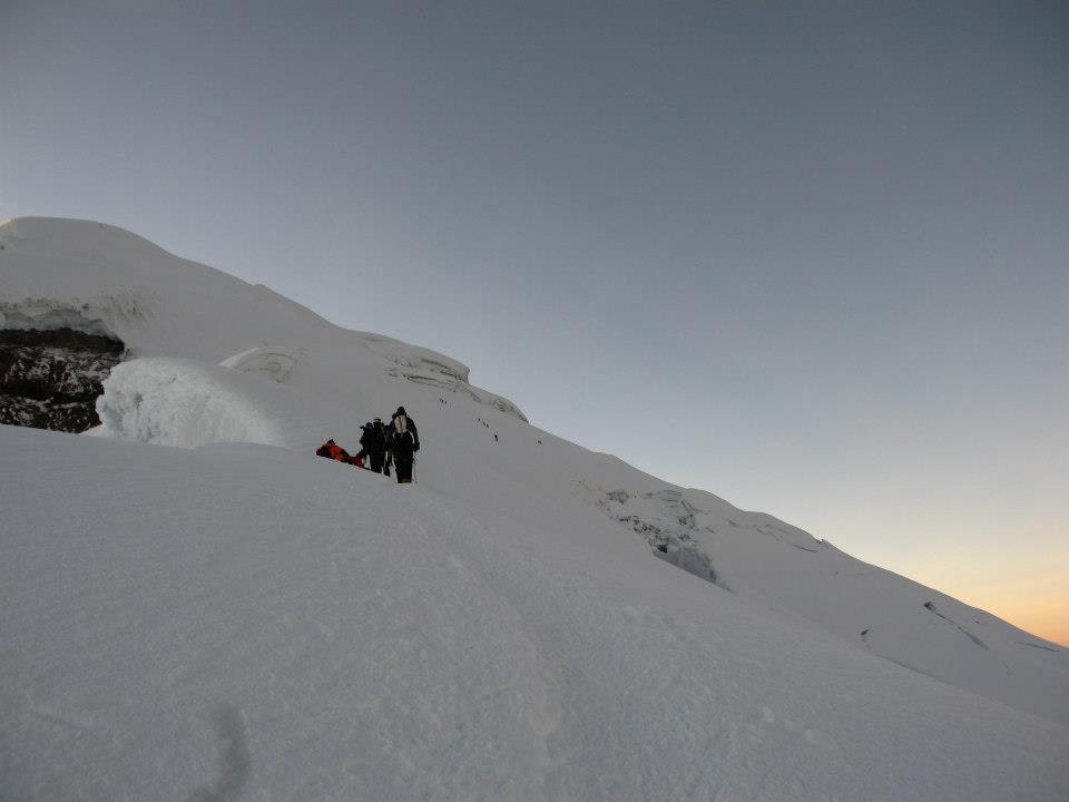 snow volcano hiking