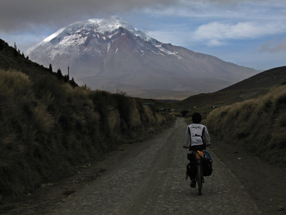 bikepacking snow capped mountains