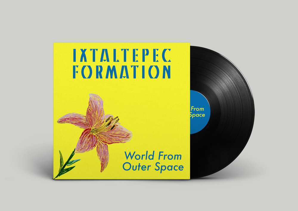 World From Outer Space by Ixtaltepic Formation - The original artwork for Ixtaltepec Formation's album was a picture of a garden. However, the band's anti-establishment anthems and their fantastical lyrics did not match the garden image. I therefore decided to create a graphic using only one flower from the garden. The lonely flower, bright yellow background, and blue type characterize the out-of-this-world feeling the band wanted to convey to listeners.