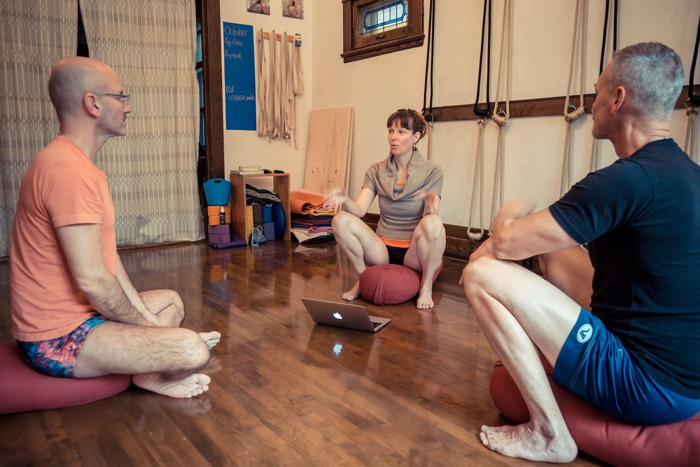 "I found Kara to be a very experienced Iyengar yoga practitioner and teacher, and at times I felt my ""Meet the Resistance"" experience verge on information overload. (in a good way!) Now, having had a few days to process the experience, I am noticing bits of her teachings pop up in all areas of life. The asanas Kara demonstrated and then guided were very specific and gradually built on each other in intensity before ending in a very deep relaxation pose at the end. The interview before and the discussion after the practice created nice bookends for the experience, and reinforced some of the teachings, but for me time on the mat was where it's at. Thank you Kara! We will be back!"
