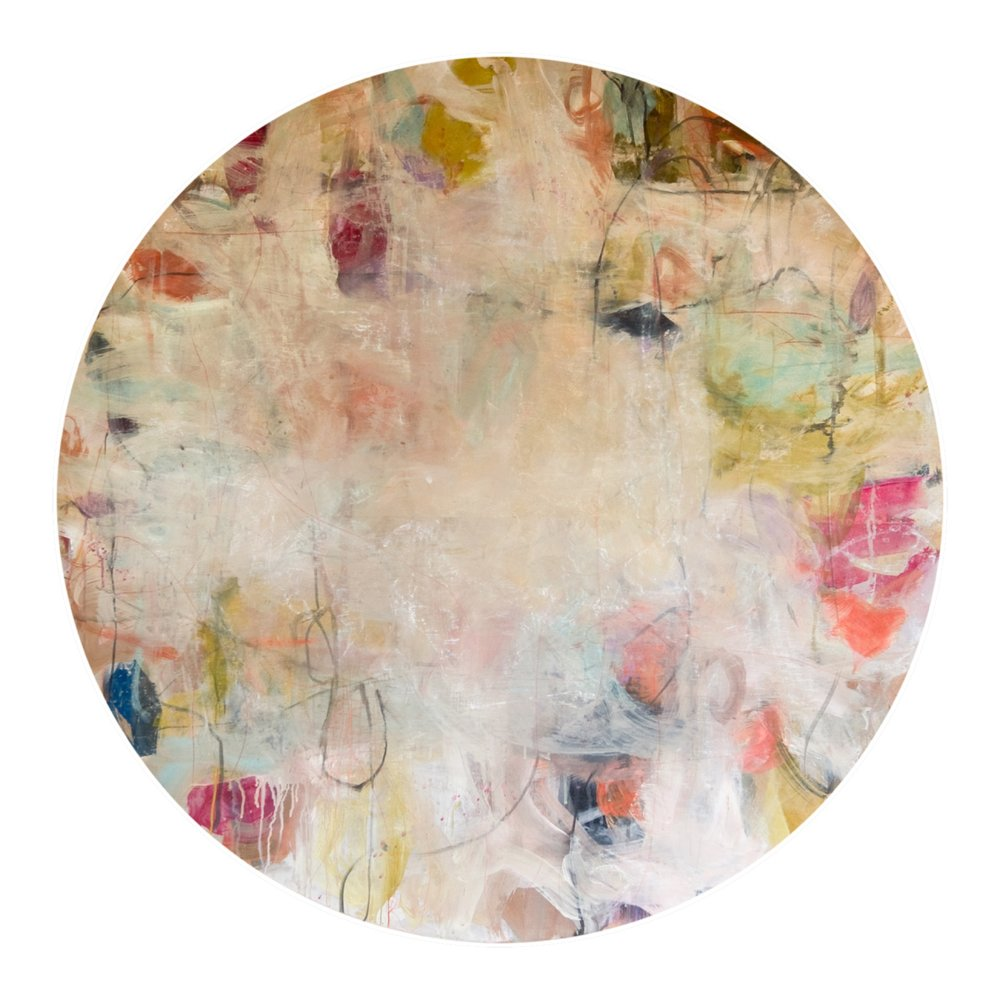 """Zippin Pippin II  52"""" round mixed media on panel  SOLD"""