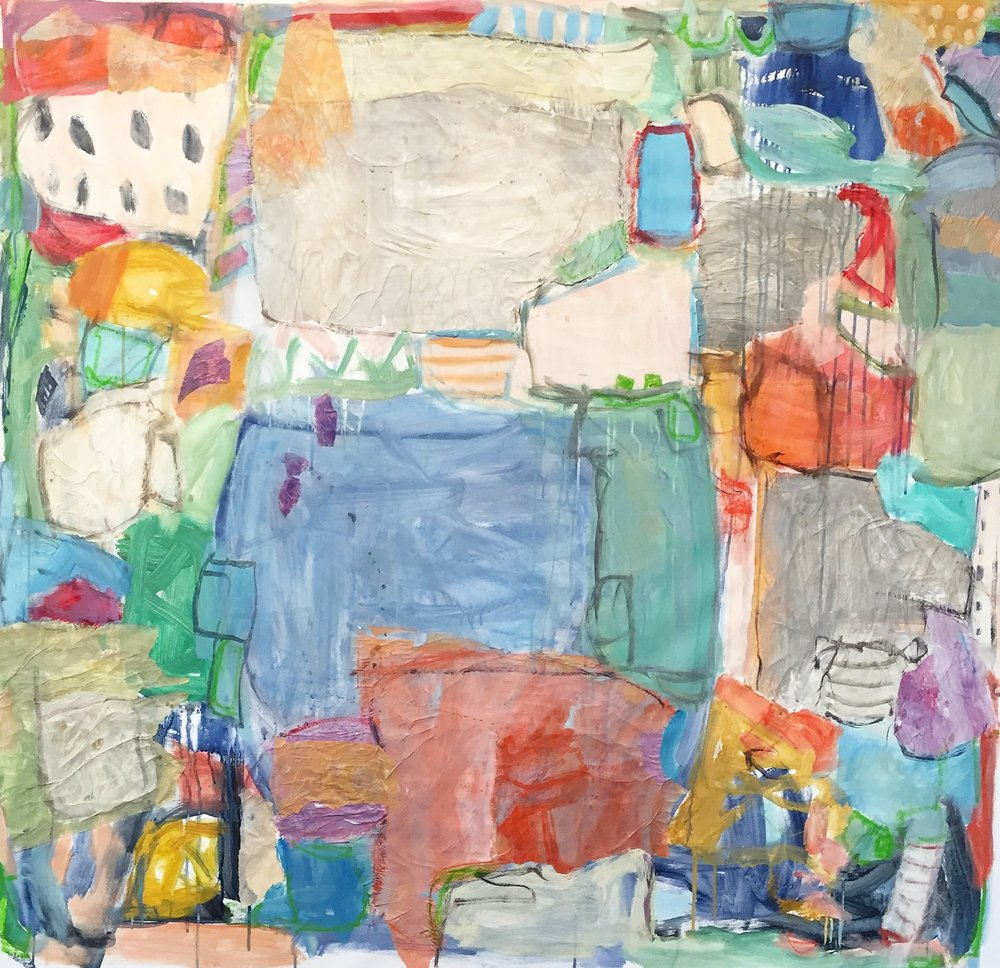 """Scavenger Hunt  49""""x52"""" mixed media collage on canvas  SOLD   L Ross Gallery"""