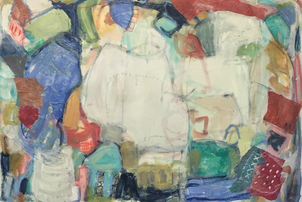 "Pulse II  30"" x 44""  acrylic, mixed media, collage on canvas,"