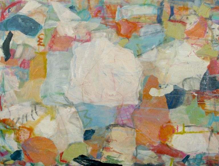 """Frolic  32""""x40"""" mixed media collage on panel  SOLD   L Ross Gallery"""