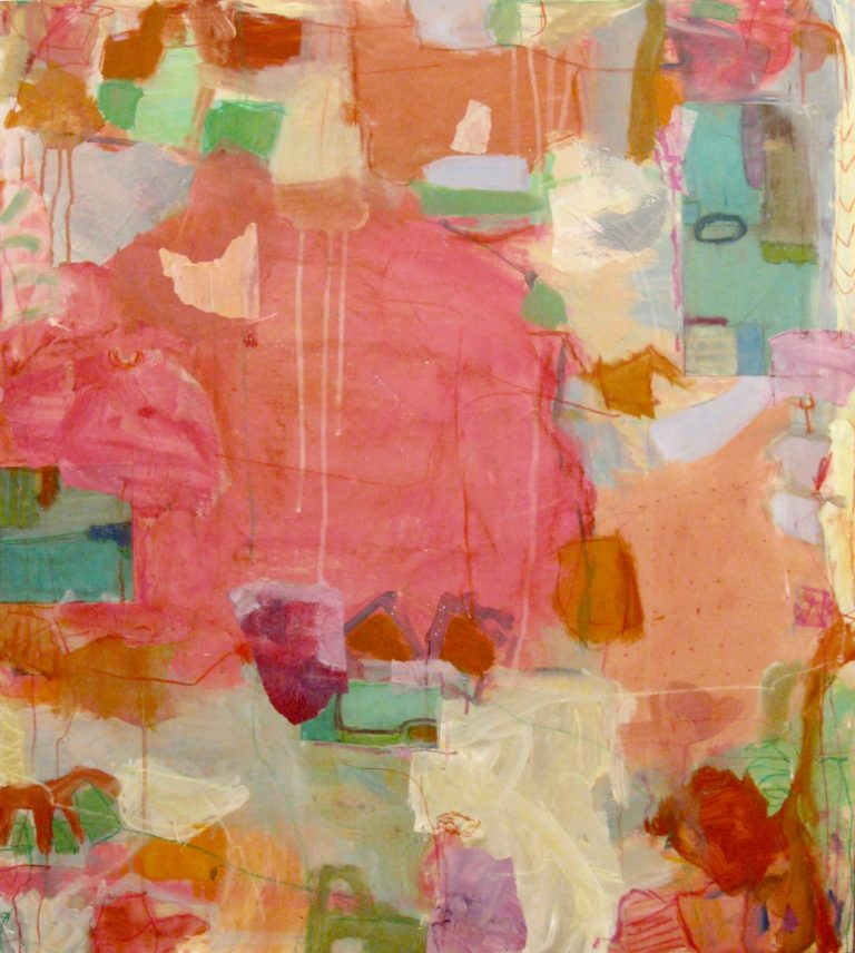 """Hot Pink  43""""x38"""" mixed media collage on panel  L Ross Gallery"""
