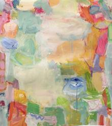 Lily Pad I  31 x 32.5 inches framed mixed media on paper  SOLD   Blue Print Gallery