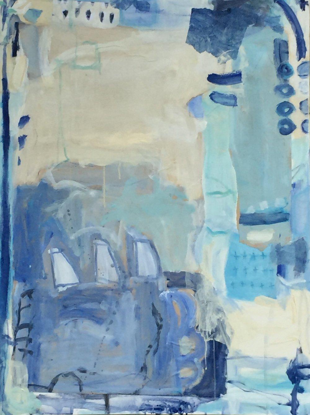 """Sydney Harbor I  36""""x48"""" mixed media on canvas  studio"""