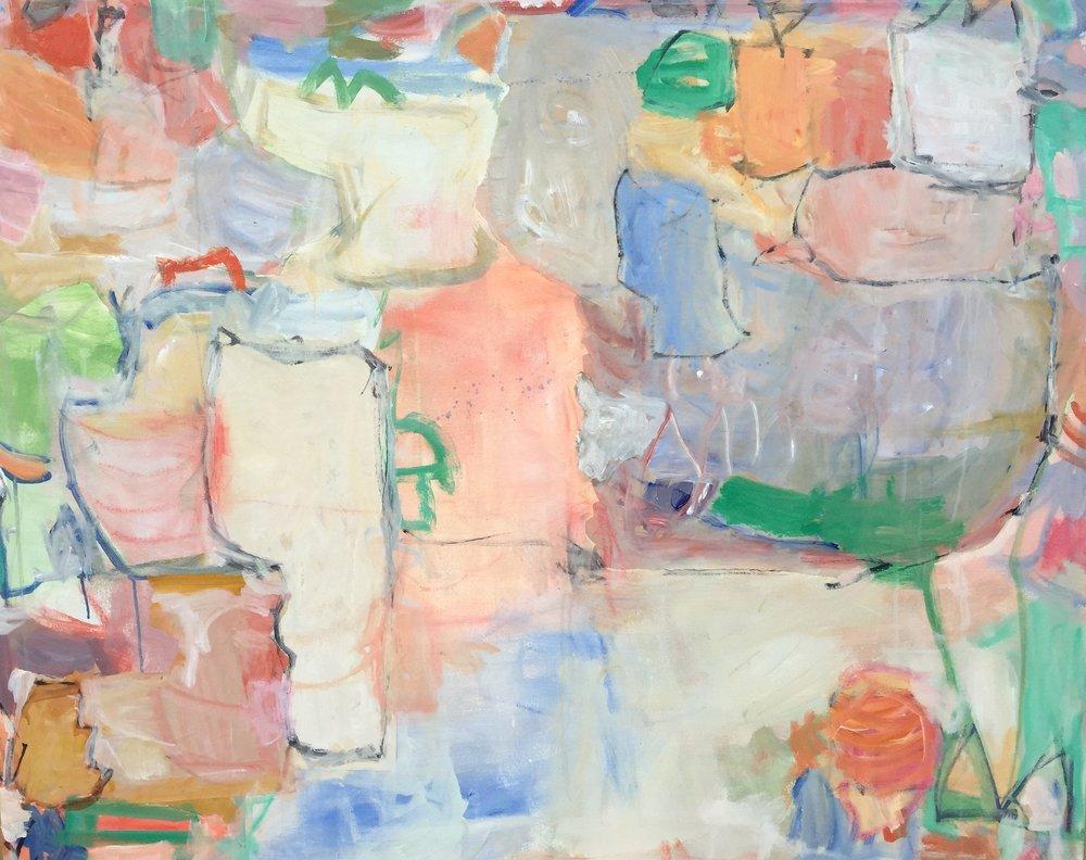 """Jardin  48""""x60"""" mixed media on canvas  studio"""