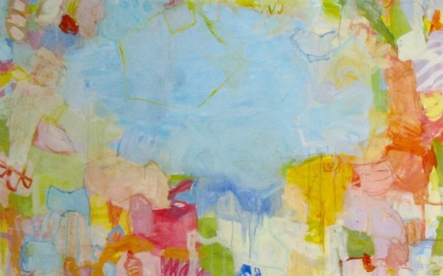 Summer Swim  37 x 56 inches framed mixed media on paper  Blue Print
