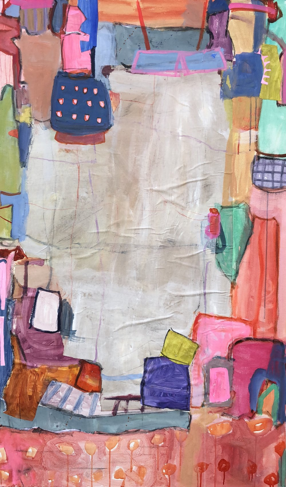 """Dippin Dots I  36""""x60"""" mixed media collage on canvas  Blue Print Store"""