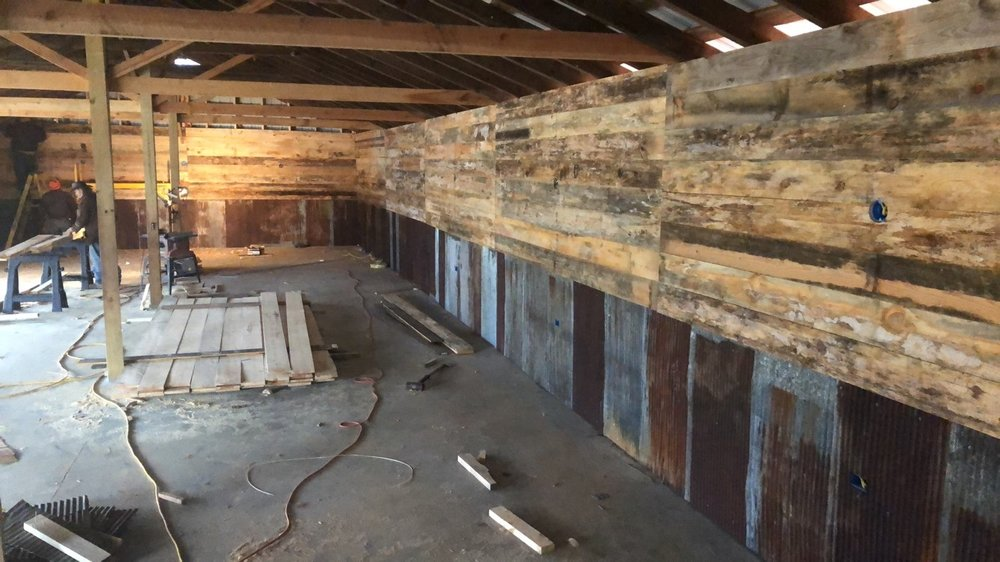 renovations on new reception barn at venue