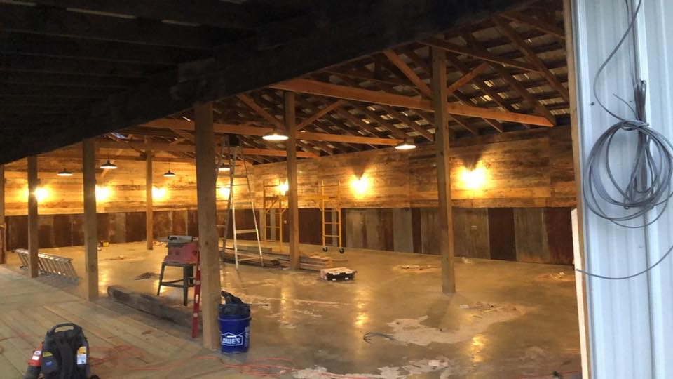 decorative lighting in new reception barn at Historic Venue