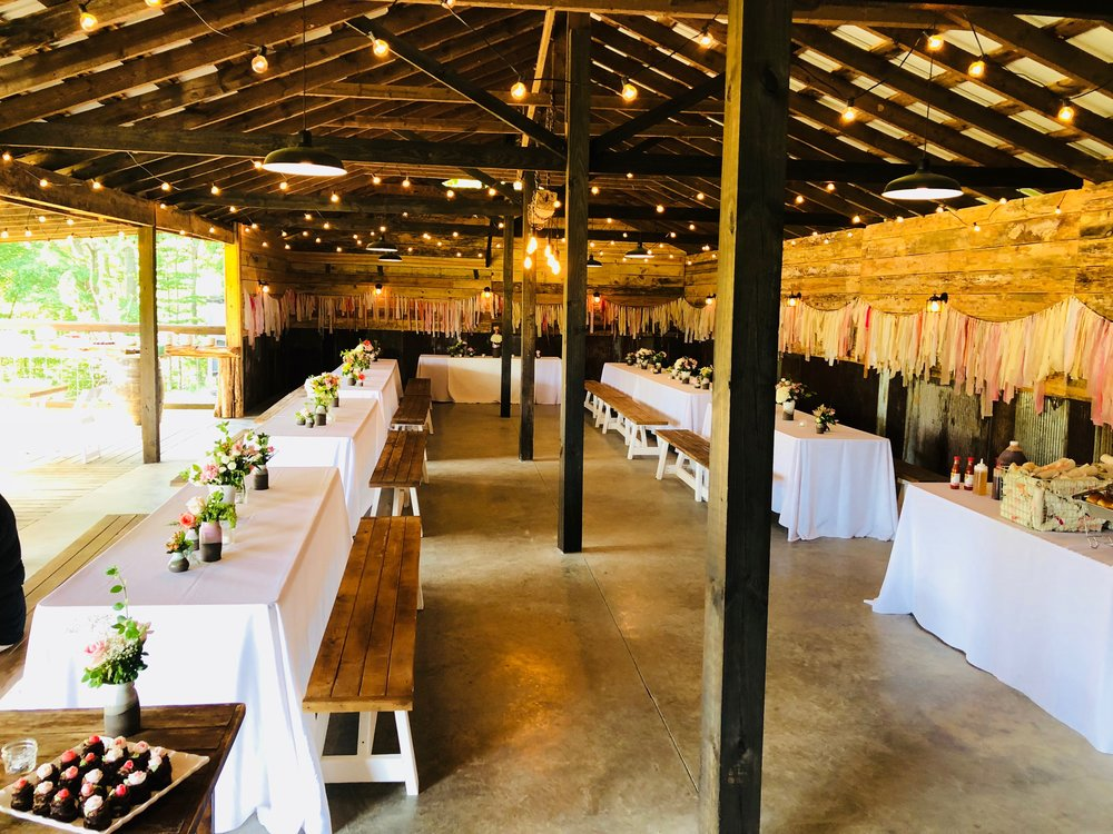 buffet wedding reception held in the newly renovated reception barn at Old Holler Farm