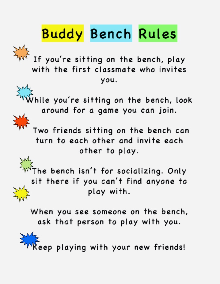 Buddy Bench Rules Strickland Brothers Foundation Fund Winston Salem NC