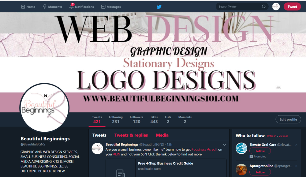 MY CURRENT TWITTER PAGE CUSTOM DESIGNED - GET YOURS DONE TODAY