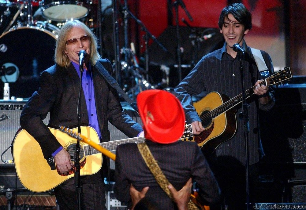 Tom Petty, Dhani Harrison and Prince during The 19th Annual Rock and Roll Hall of Fame Induction Ceremony - Show at Waldorf Astoria in New York City, New York, United States.