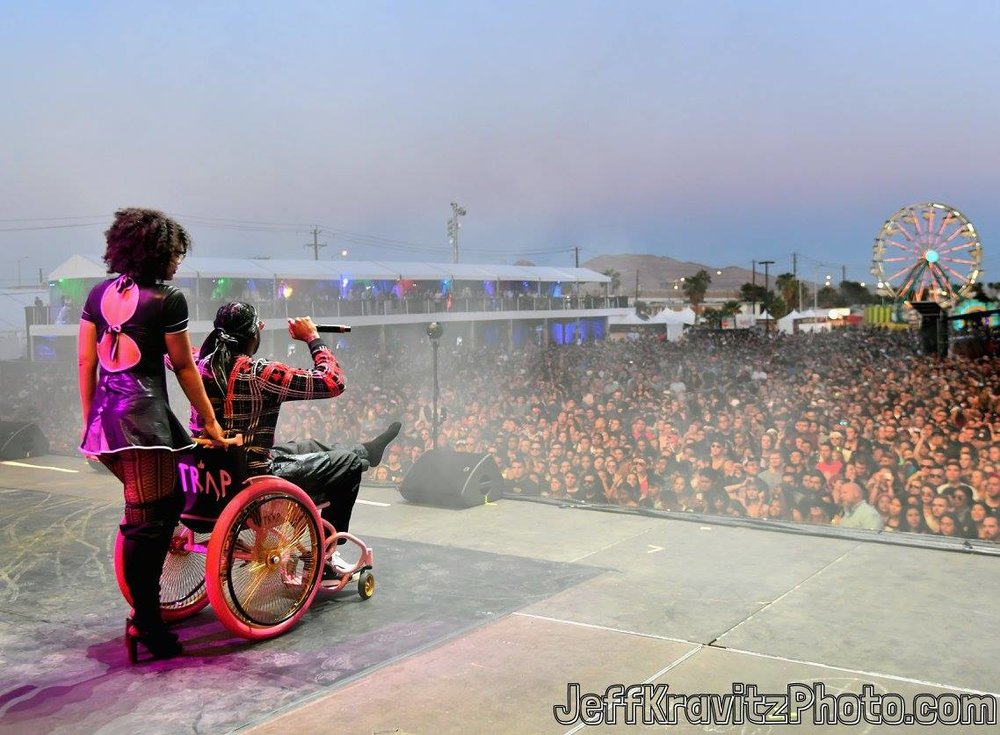 Watching  2 Chainz  perform from a wheelchair on Downtown Stage during day 1 of the 2017  Life is Beautiful Festival  on September 22, 2017 in Las Vegas, Nevada.